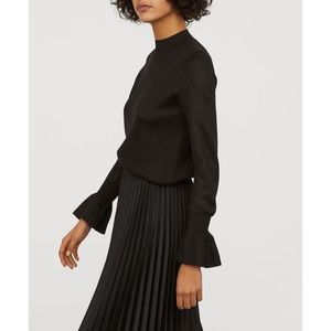 H&M black mock neck bell sleeve sweater